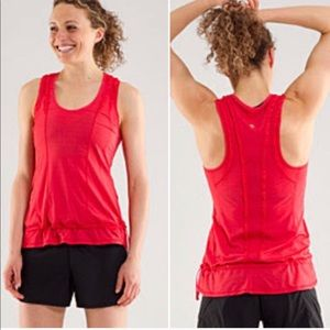 Lululemon Ruffle Mind Over Matter Red Tank Top